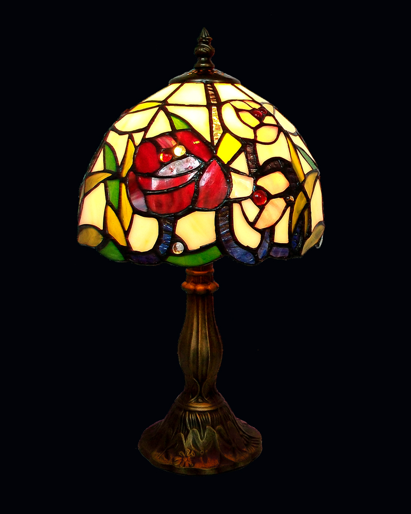 stained glass shade tiffany style table lamp with rose bud patterns lampfair free shipping tr08089