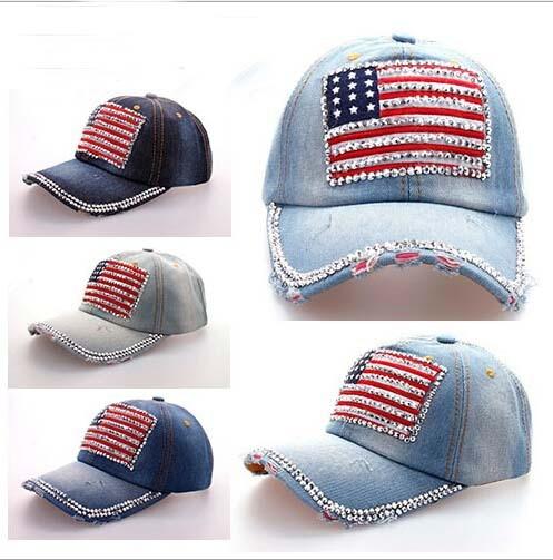 american flag baseball cap military angels hat diamond point font denim