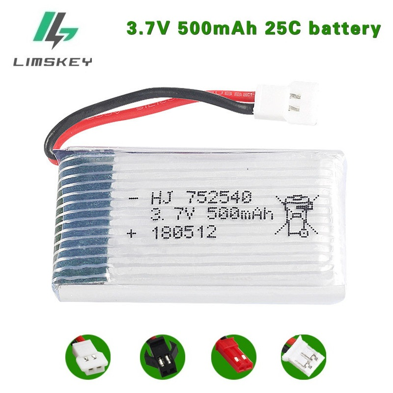 20pcs/lot 3.7V <font><b>500mAh</b></font> Lipo <font><b>Battery</b></font> For Syma X5C X5SW M68 Cheerson CX-30 H5C quadrocopter <font><b>3.7</b></font> V 500 mAh Li-po <font><b>battery</b></font> 752540 image