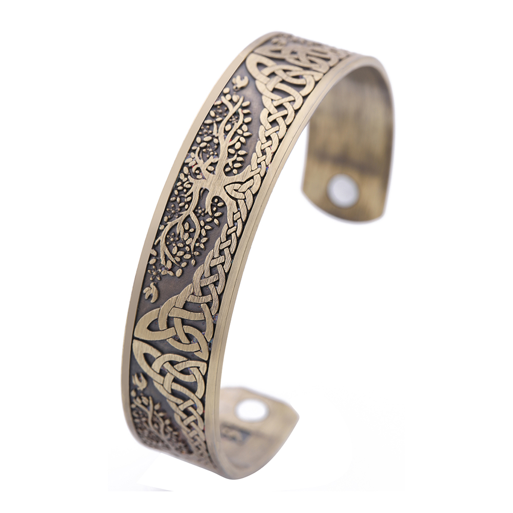 Skyrim Ankle Bracelet Life Tree Engraved Jewelry Viking Cuff Bangle Silver Plated Magnetic Bracelets Bangles For Man Women Gift engraved life tree round jewelry set