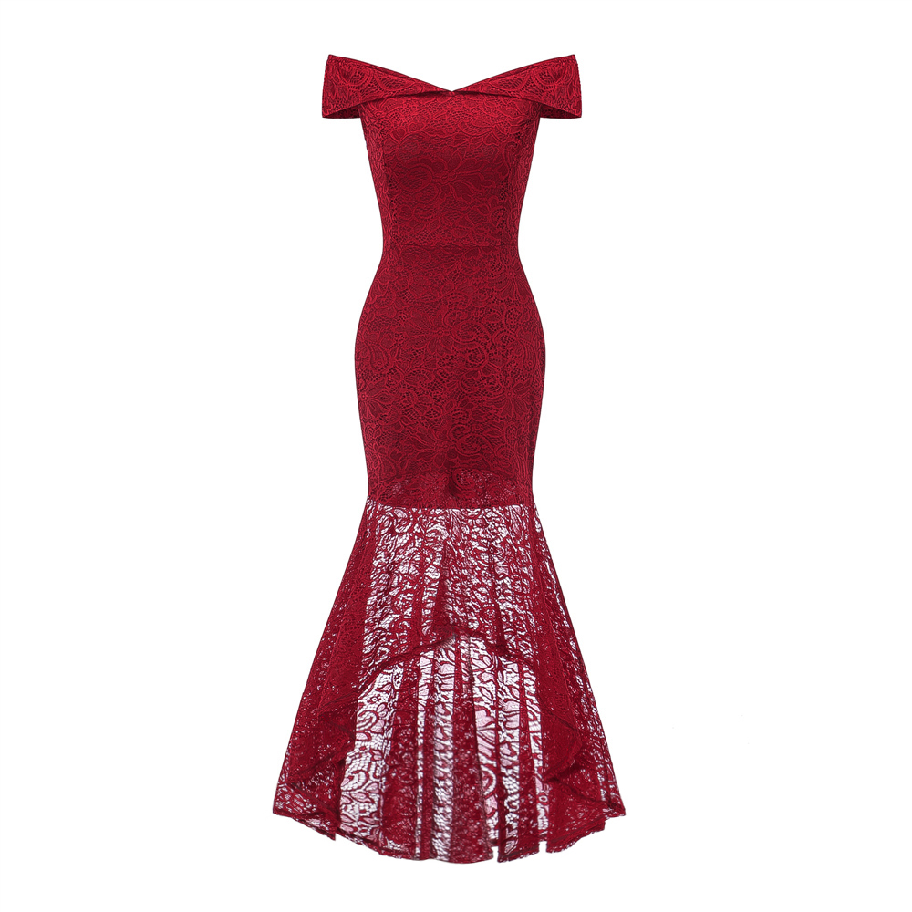 51a13e339ebf Βραδινά φορέματα OML533J#Fishtail wine red lace evening Dresses long Blue  pink Christmas party dress prom gown women's fashion wholesale Clothing