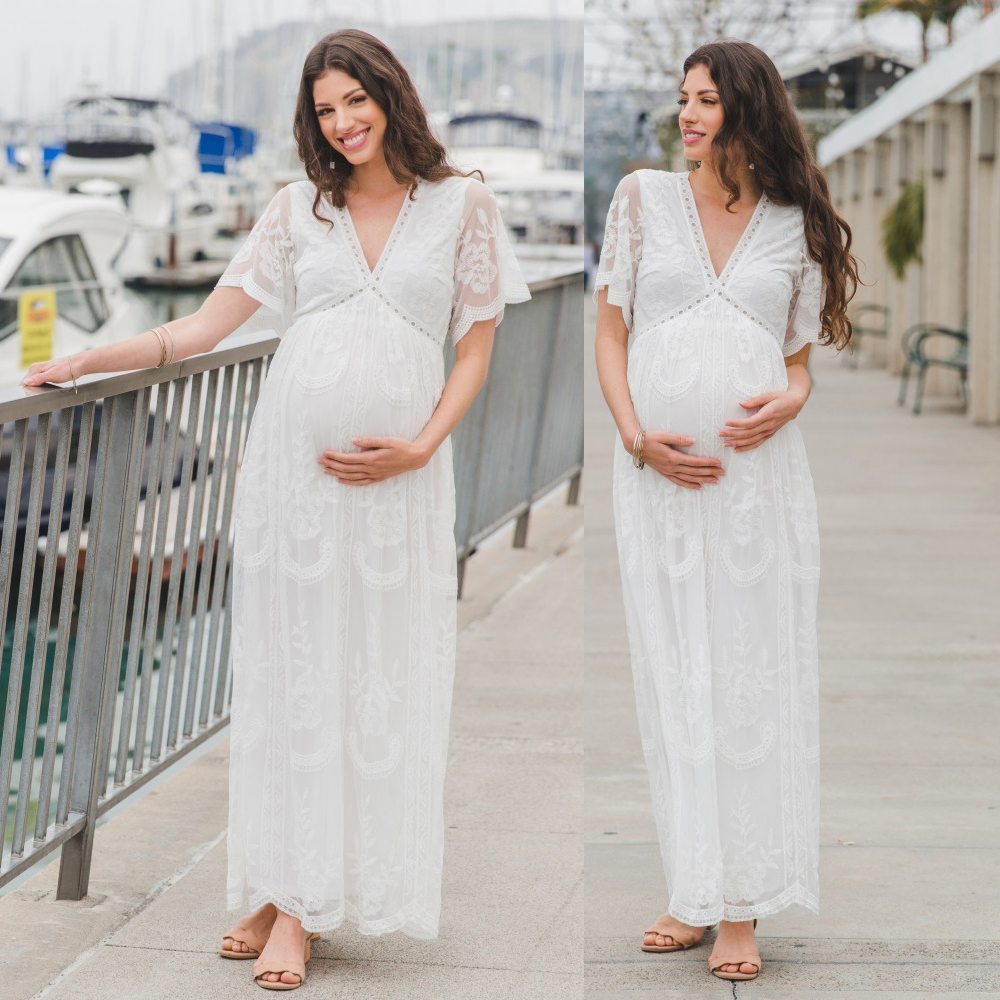 Long Maternity Photography Props Pregnancy Dress Lace Floral Maternity Gown Clothes 2019 Pregnant Dresses For Women Photo Shoots