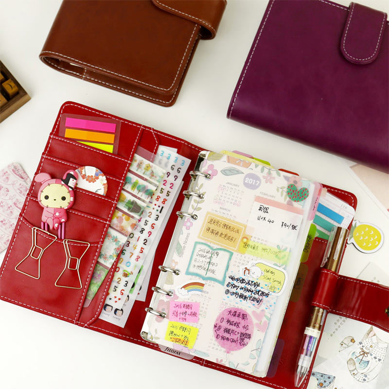 2017 Vintage Leder Notebook A5 A6 Retro PU Notebook Milchprodukte persönliche Planer Agenda mit 25mm Dia Ring Office & School liefert