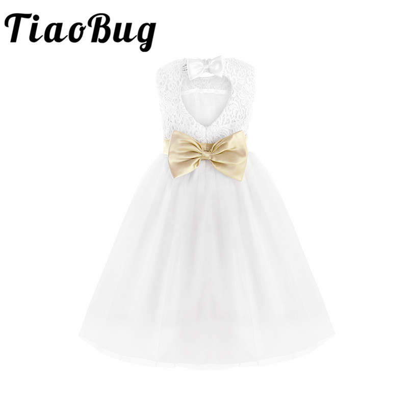 TiaoBug White Flower Girl Dress Kids Pageant Birthday Formal Party Lace Long Dress Bowknot First Communion Dress Prom Gown 2-12Y
