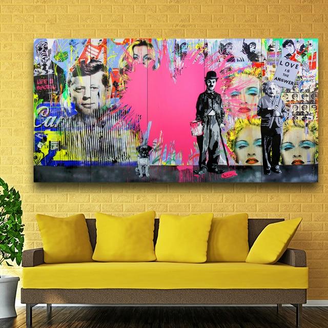 Top Toile Art Imprimer Peinture Einstein Chaplin Madonna star Affiche  XP21