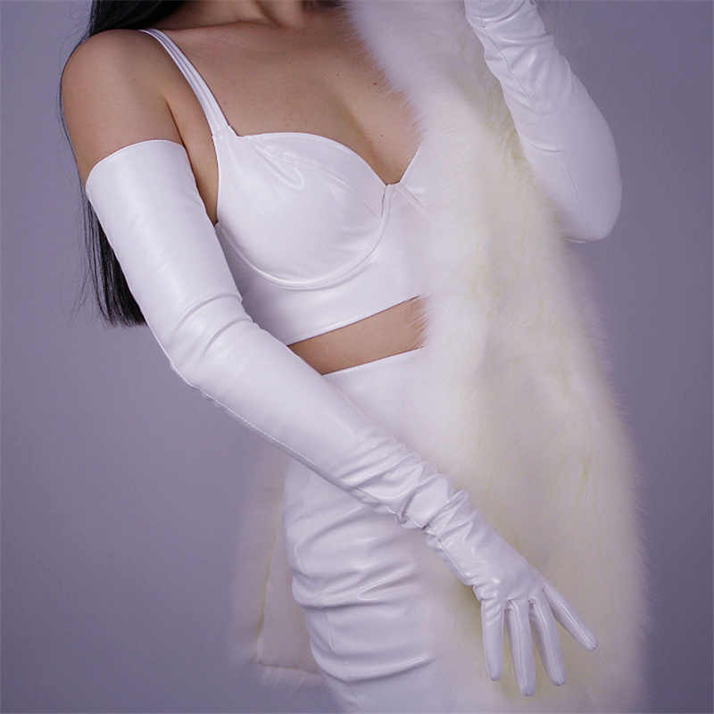 Women'S Patent Leather Long Gloves 70cm Long Elbow Simulation Leather PU Leather Gloves Mirror Bright Leather Bright White TB73