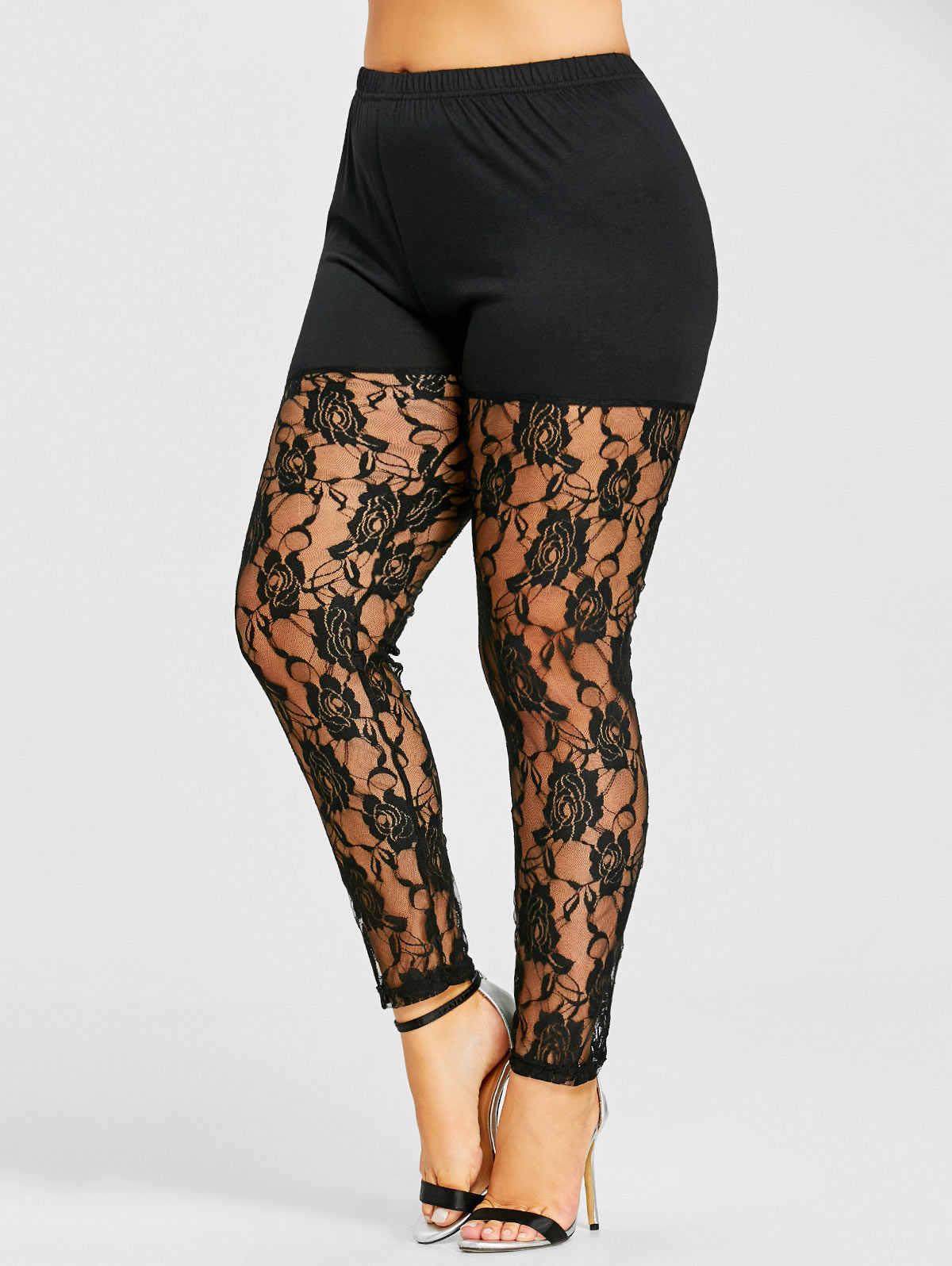 13164875264d2 Kenancy Plus Size 5XL High Waist Black Sexy Floral Lace Sheer Legging Women  Skinny See Through