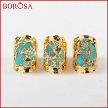 BOROSA Gold Color Druzy 100% Natural Blue Stone Band Ring, Fashion Drusy Natural Stone Rings for Women as gift  G1284 notebook stone by stone a6 100 100