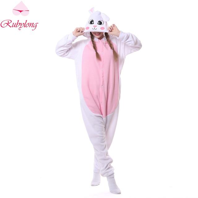81f3371a79 Rubylong Unisex Fleece Winter Pajamas Cute White Rabbit Cartoon Sleepwear  Homewear Women s Hooded Animal Pajama Sets Pyjama
