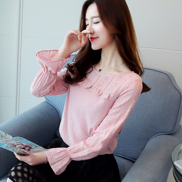 c13dfacd6 Estilo coreano Elegante Blusa de Renda Mulheres Alargamento da Luva de Slim  rosa Blusas de Renda