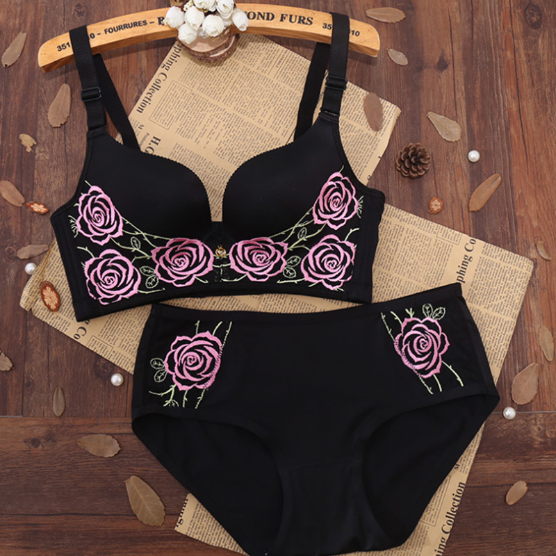 New Sexy Women   Bra     Set   Embroidery Rose Push up Adjusted   Bra     Brief     Sets   Ladies Wireless Fashion   Bra   And Panty   Set