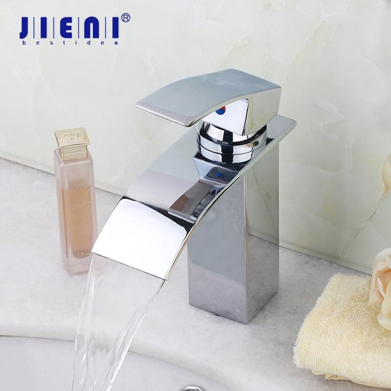JIENI New Bathroom Faucet Ceramic Waterfall Chrome Brass Basin Sink Faucet Lavatory Combine Set Faucet Mixer