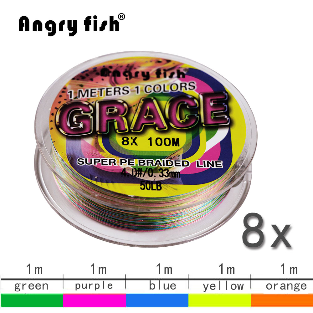 Angryfish Super Braided Fishing Line LiuCai Series 8 Strands 100m PE 5 Colors One Color Per Meter Fishing Wire Rope Weaving