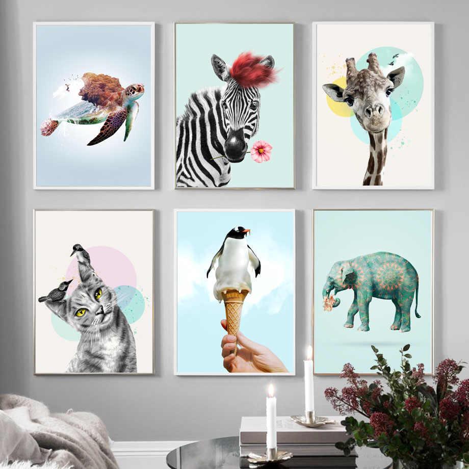 مضحك القط زهرة زيبرا البطريق الآيس كريم الرسم على لوحات القماش الجدارية الشمال الملصقات و يطبع جدار صور لغرفة المعيشة ديكور الرسم والخط Aliexpress