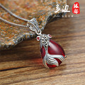 2 color famous brand 925 silver necklace red Pendant female cartoon Natural semi-precious stones garnet with gift box goldfish