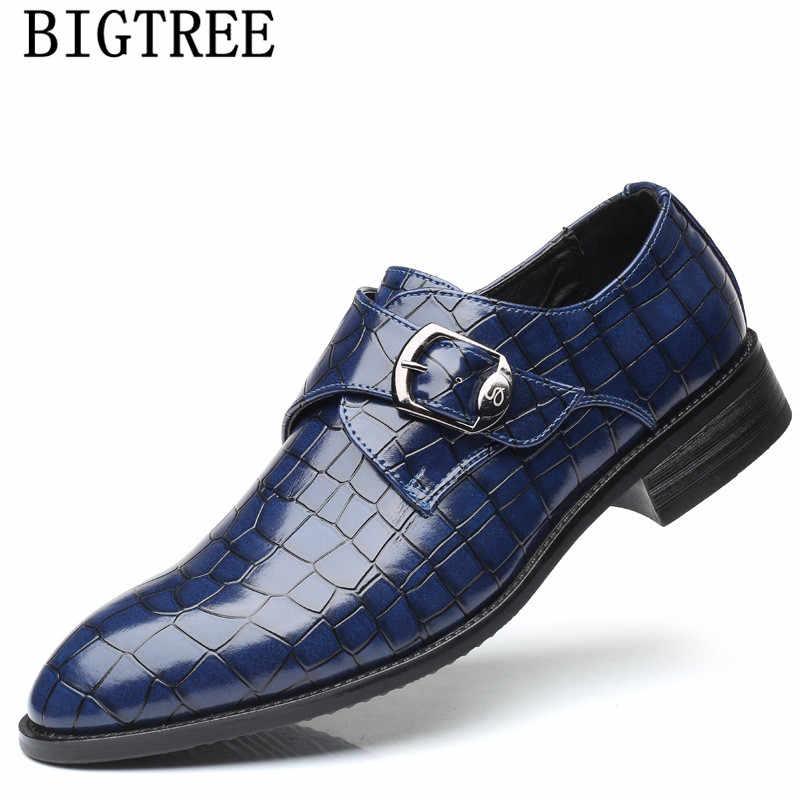 وصل حديثًا حذاء زفاف للرجال على الموضة الإيطالية طراز حزام الراهب لعام 2020 حذاء بدلة على شكل تمساح حذاء رجالي رسمي من Zapatos De Hombre De Vestir