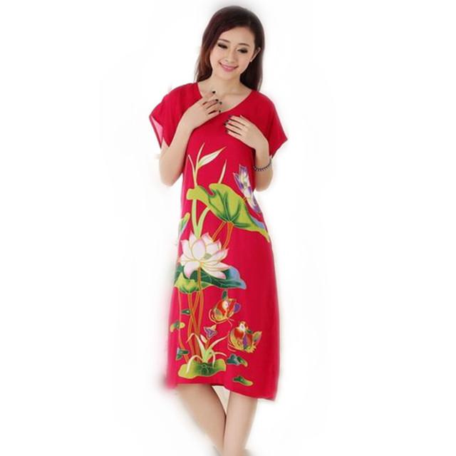 Nova marca Red senhora Camisola de Algodão Estilo Chinês Roupão de Banho Vestido de Flor de Impressão Sleepwear Camisola Tamanho T052