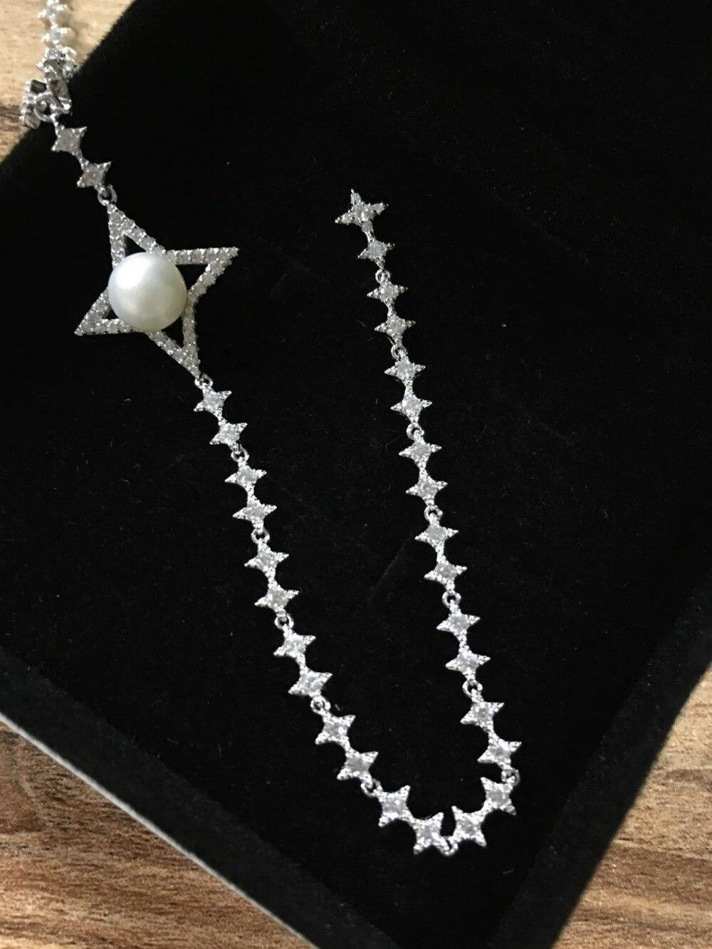 แบรนด์ที่มีชื่อเสียง bling เต็ม zircons starry ดาว cross star คริสตัลยาว tassels แท้ 925 เงินสร้อยคอไข่มุกผู้หญิง-ใน จี้ จาก อัญมณีและเครื่องประดับ บน   1
