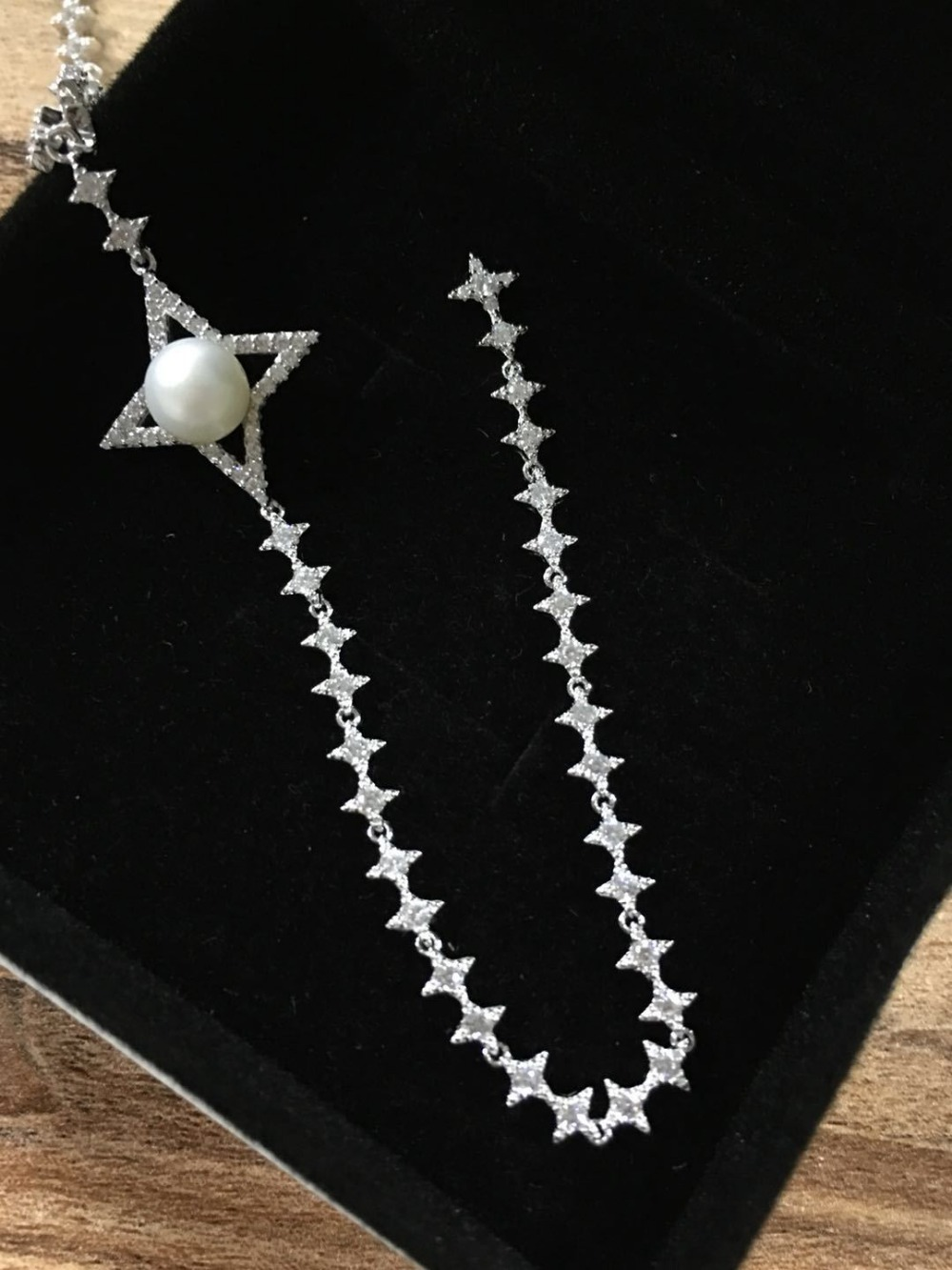 luxury Brand bling full of zircons starry stars cross star long crystal tassels 925 sterling silver fine pearl women necklace white hollow moon full of stars necklace page 2