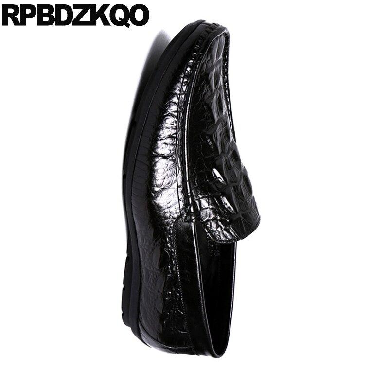 Zapatos Estilo Hombres Lujo De Conducción rojo Mocasines Negro Resorte Real Python Los Genuino Cuero Cocodrilo Marca Negro Británico Wn0q1zZfq