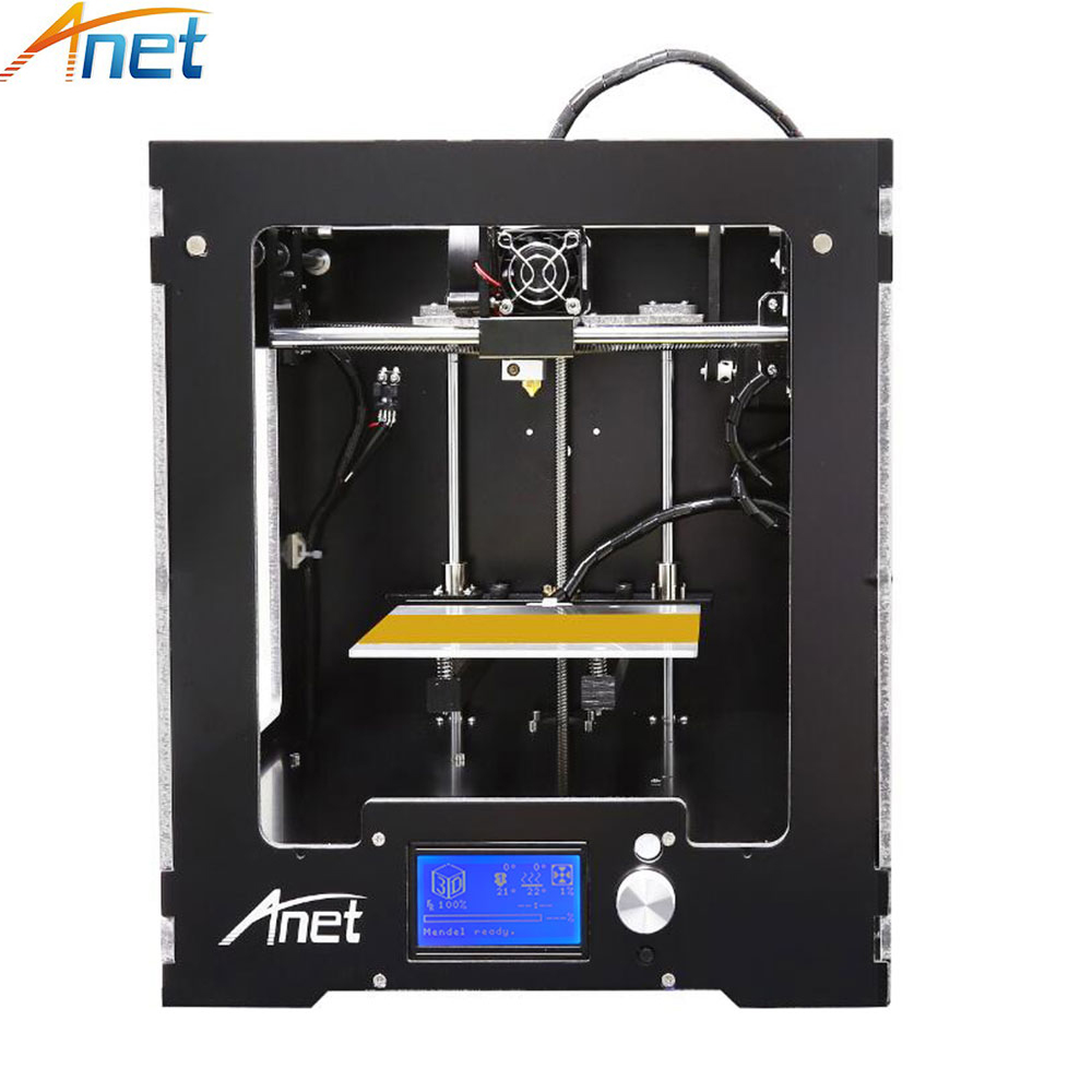 цена на 2018 High Accuracy! Anet A3 3D Printer Reprap i3 3D Printer Kit with 1kg Filament 16GB SD Card LCD Heat bed for Free Large Size