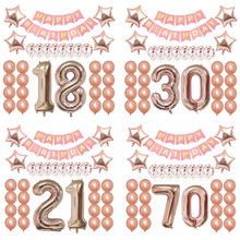 Happy Birthday Rose Gold Letter Balloon Confetti Balloons 40 Number 18 21 30 50 Foil Party Decor Supplies