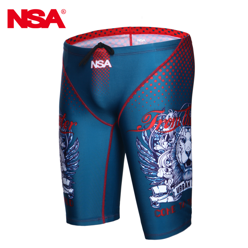 NSA  Racing Training Competitive Swimming Trunks Mens Swimwear Swimsuits Quick Dry Anti-chlorine Men Swimsuit Swim Shorts