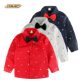 Hot Sale New 2017 Spring Children Clothing Brand Fashion Full Printed Bow Tie Kids Clothes Gentleman Boys Shirts for 2-10 Years