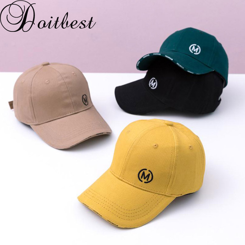 Doitbest 2 to 8 Years Spring Children   Baseball     Cap   Boys Girls solid M letters summer Snapback adjustable Kid Hip Hop Hat Sun   cap