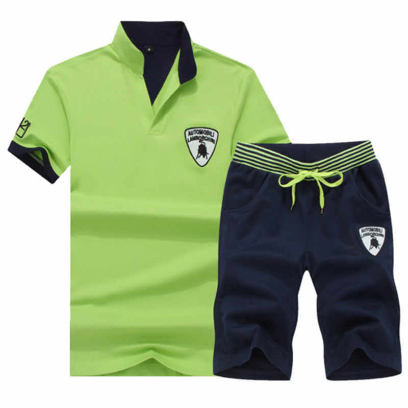 夏男性セットフィットネススーツスポーツスーツ半袖 Tシャツ + ショーツ速乾性 2 個セットカジュアル男性トラックスーツ服