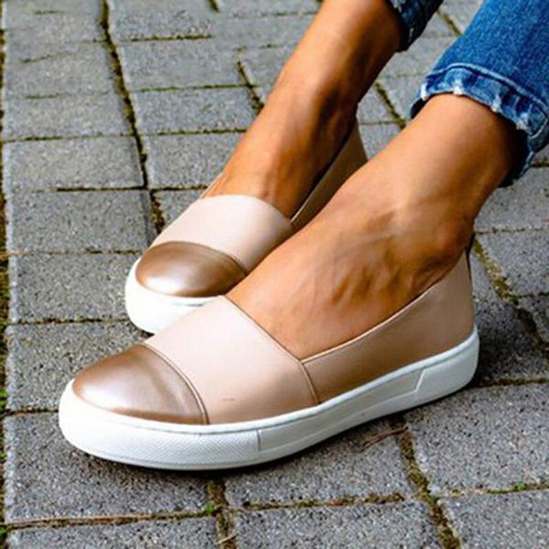 Oeak 2020 primavera mocassins de couro feminino deslizamento-no ballet apartamentos branco preto sapatos mulher deslizamento em mocassins sapatos de barco