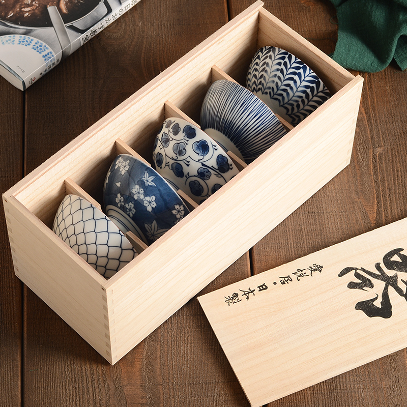 1 Satz 5 Stücke Keramikschalen Mit Holz Geschenkbox Kreative Unter-glasur Geschirr Japanischen Hohe Qualität Made In Japan