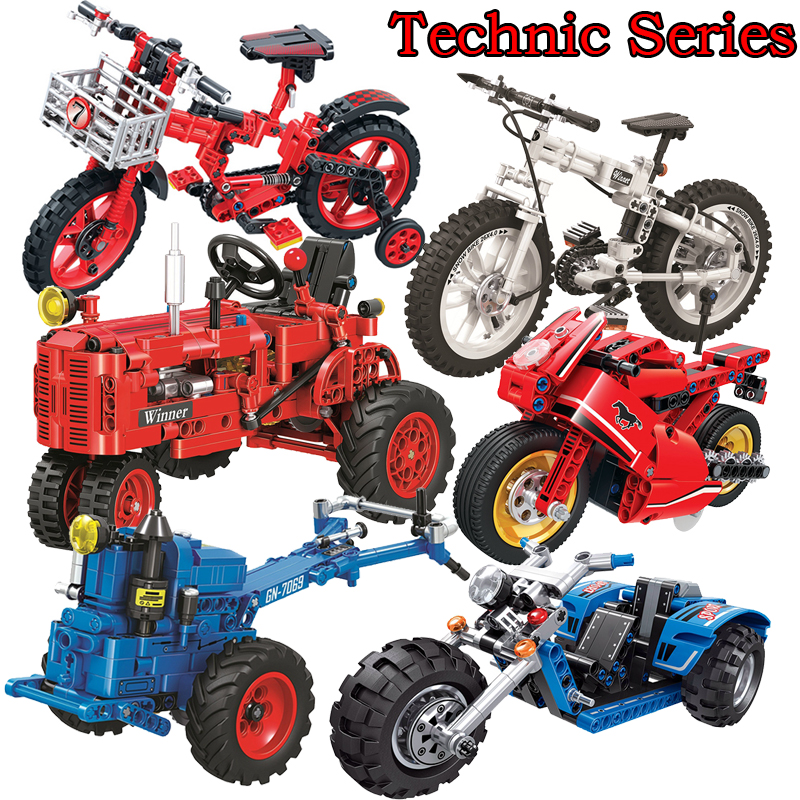 Classic Tractor Motorcycle Legoingly Technic Creator Model Building Blocks Bricks Technician Toys For Children Christmas Gift aiboully 7061 550pcs technic motorbike motorcycle car bicycle building bricks blocks toys for children gift