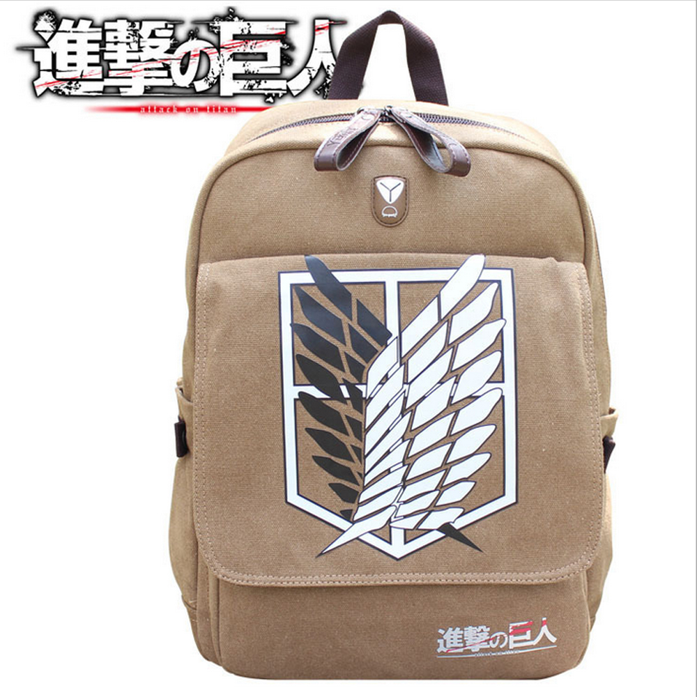HOT Anime Attack on Titan School Book Bag Canvas Backpack Rucksack Cosplay