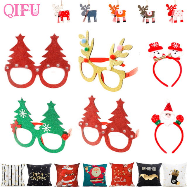 QIFU Merry Christmas Ornaments Christmas items Party Glasses Frame ...
