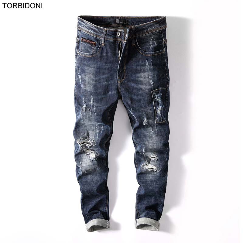 Fashion Beggar Hole Jeans Men 2017 New Skinny Trousers Brand Patchwork High Quality Ripped Little Stretch Long Pencil Pants