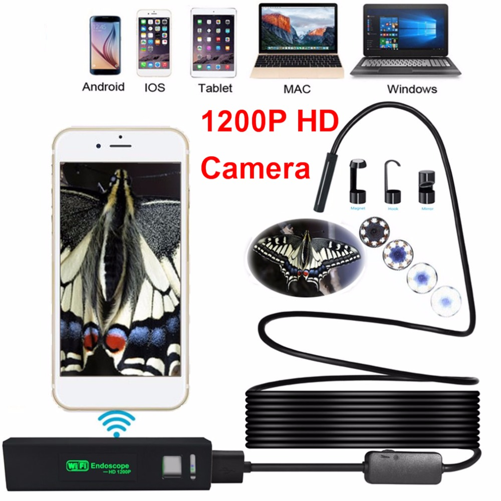 Endoscope Camera 8LED 3.5M Soft Hard Flexible Snake USB WIFI Android IOS 1200P HD 8mm IP68 Waterproof Pipe Inspection Camera image