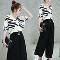 Office Lady ropa set verano de Las Mujeres negro y blanco imprimir despojado blusa suelta cuello en V tops + pantalones trajes de pierna grande NS278