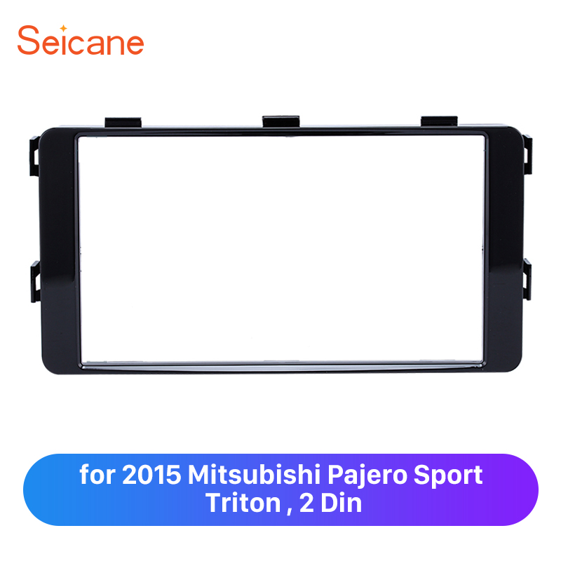 Seicane 2 Din Car Radio Trim Frame Plate for 2015 Mitsubishi Pajero Sport Triton Refitting Panel