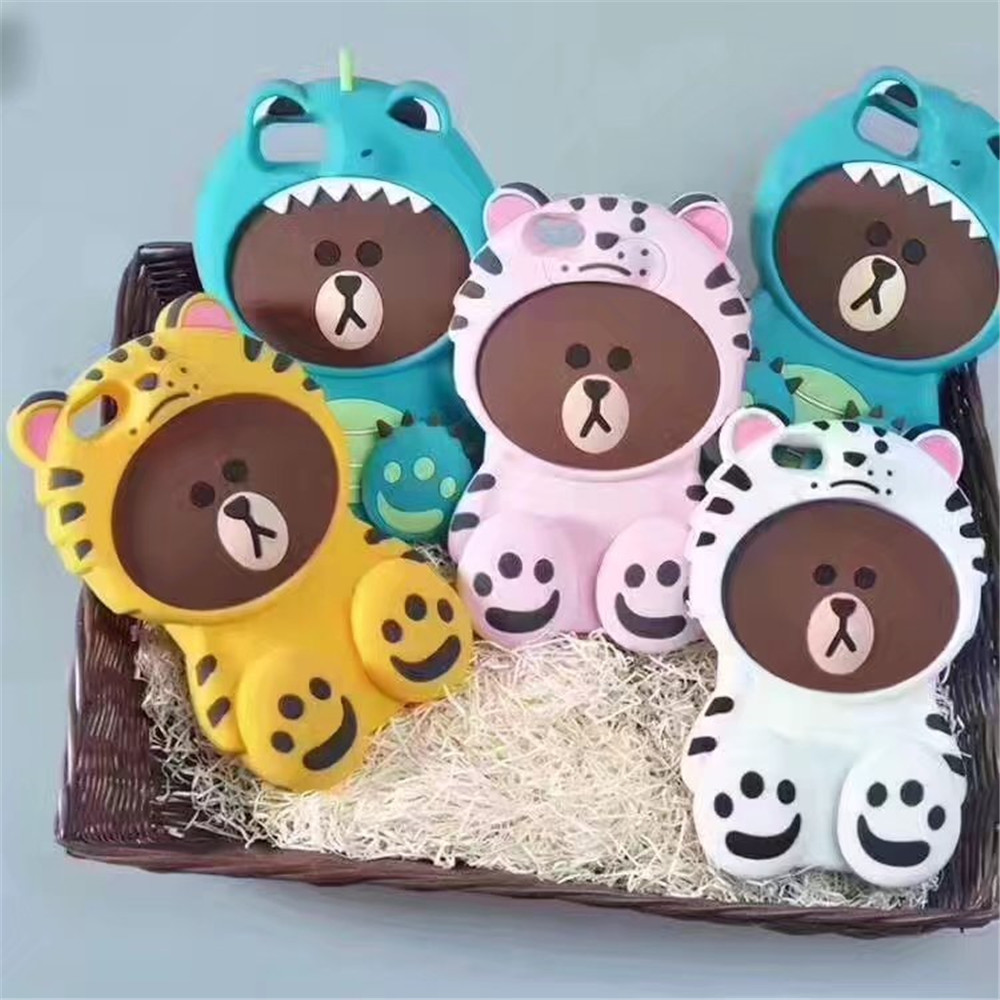 2017 New 3D Lovely Cute Bear Coque Case For iphone 7 7plus,Soft Silicone Phone Back Cover For iPhone 6 6S plus Case+Gift