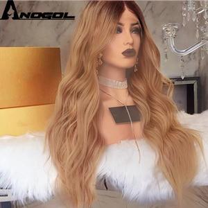 Image 3 - Anogol 180% צפיפות שיער טבעי כהה חום Ombre בלונד ארוך גוף גל מלא שיער פאות סינטטי תחרה מול פאה עבור נשים