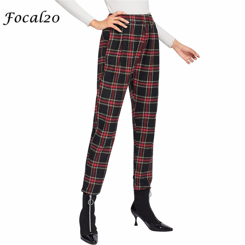 Focal20 Trendy Red Black Plaid Women Pants Elastic Waist -2718