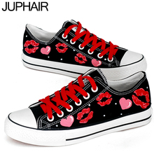 JUP Men Males Girl Spongebob Pink Purple Princess Rabbit Cat Dog Fox Fish Love Totoro Girl Lace Up Hand Painted Canvas Shoes