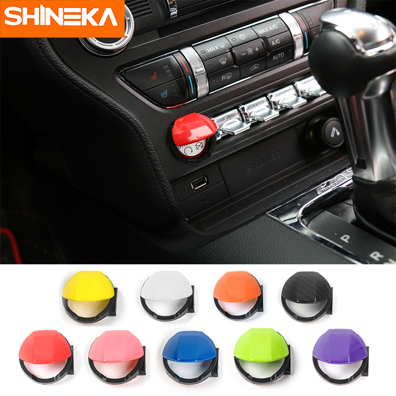 SHINEKA Fit For Ford Mustang 2015 2016 2017 Motor Button Start Stop Stop Motor Mbylle kapakin e makinës Styling