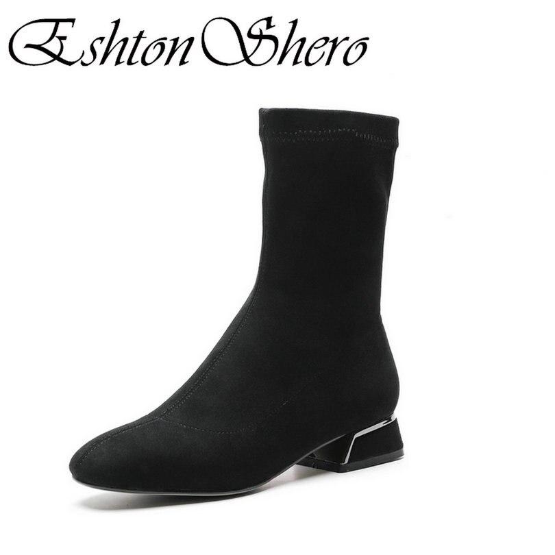 Chaussures Chaussette Bottes Femme Bas Taille Concise Talon Noir Eshtonshero Rond gris Bout Moto Cheville 39 D'hiver Boot Femmes Carré Dames fg7vYby6