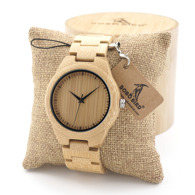 BOBO BIRD Mens Bamboo Wooden Watch with Wood Strap Quartz Analog with Quality Miyota Movement Tri