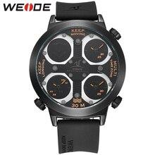 Оригинал WEIDE Часы Мужчины Люксовый Бренд 30 м Водонепроницаемый Силиконовый Группа Relogio Masculino Черный Оранжевый Кварц Мужчин Спортивные Часы