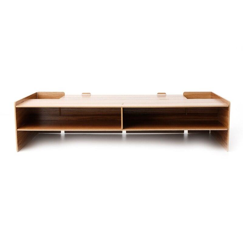 Wood Desktop Monitor Riser TV Stand Desk Organizer Storage Box For Computer Laptop
