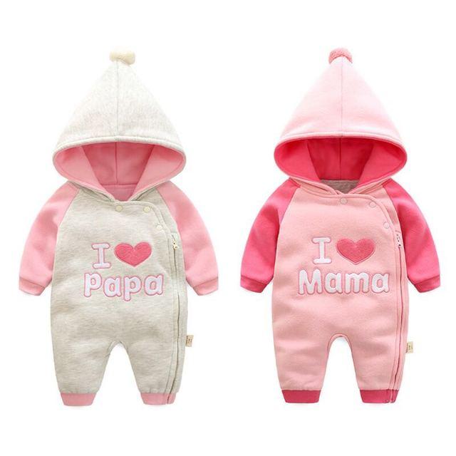 babykleidung baby strampler neugeborenen winter kleidung set ich liebe mama mama papa kinder. Black Bedroom Furniture Sets. Home Design Ideas