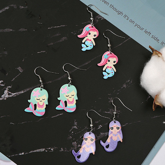 Jewelry & Accessories Obliging Fashion Fairy Tales Beautiful Mermaid Earrings Women Girls Cute Acrylic Beautiful Gilrs Cartoon Earrings Wholesale Free Shipping Aromatic Flavor